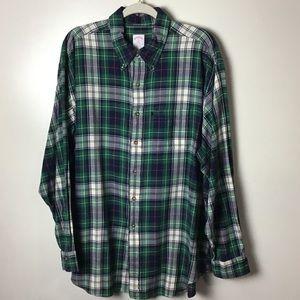 Brooks Brothers green plaid button down shirt. XL